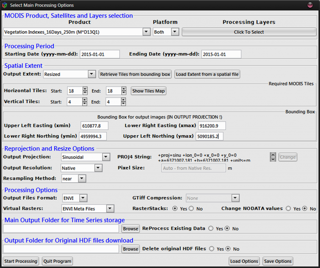 The main GUI of the MODIStsp package