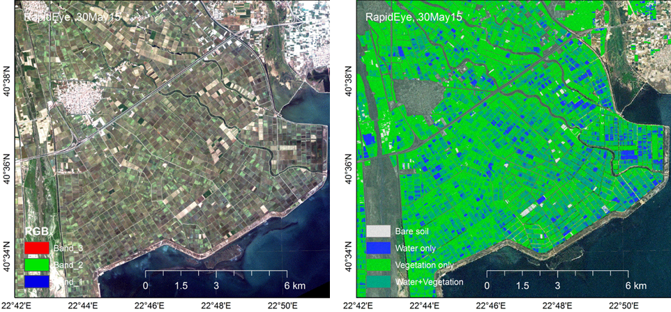 The RapidEye image acquired for Thessaloniki plain (GR), 30 May 2015 (a) and correspondi Poor Emergence map (MAP-E).